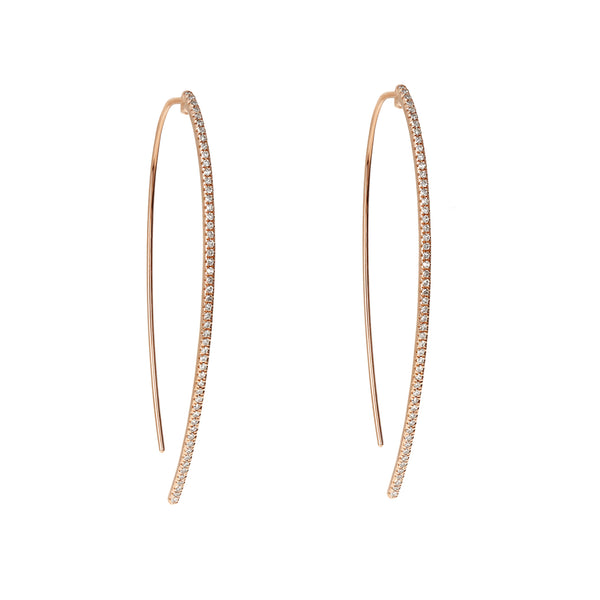 Diamond Thread-Through Rose Hoop Earrings