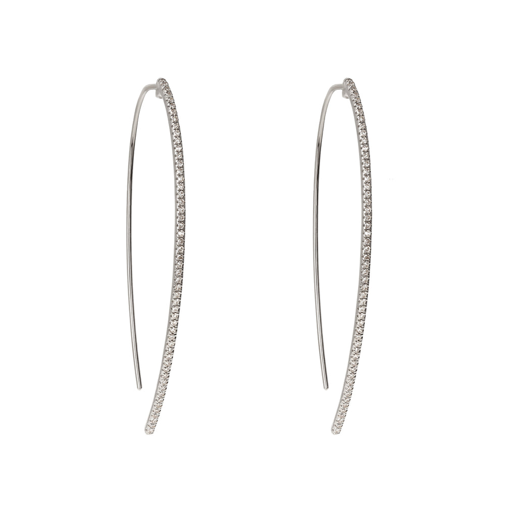 Diamond Thread-Through White Gold Hoop Earrings