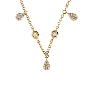 Load image into Gallery viewer, Diamond Teardrop Charm Choker Gold Necklace