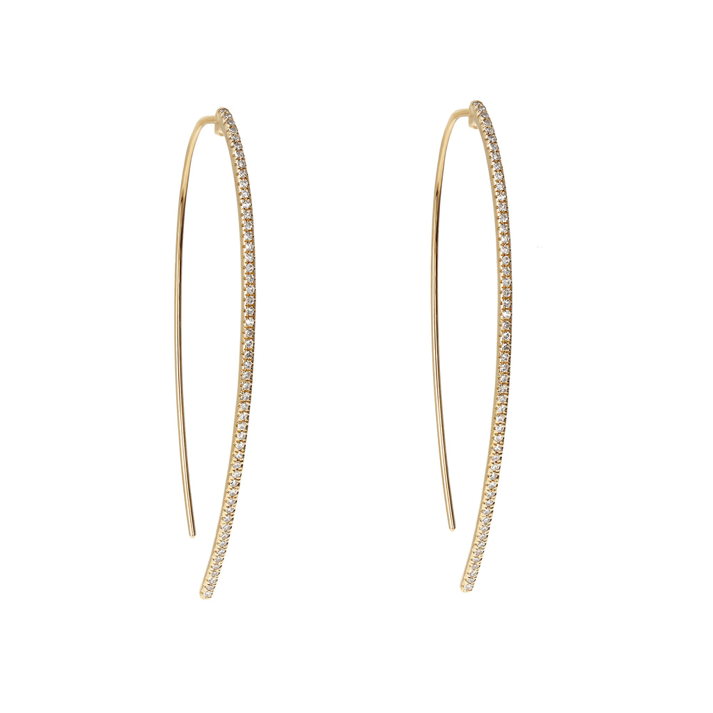Modern diamond thin thread through statement earrings in 14kt yellow gold