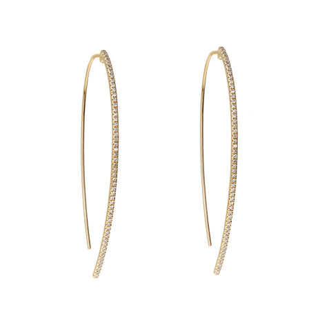 Diamond Thread-Through Gold Hoop Earrings