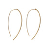 Side view of the posts of the 14kt yellow gold and diamond thread through drop earrings