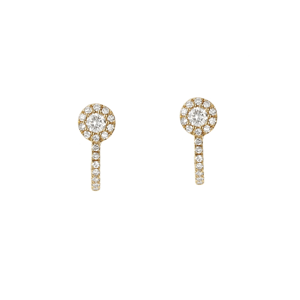 Diamond Halo Hook Gold Earrings