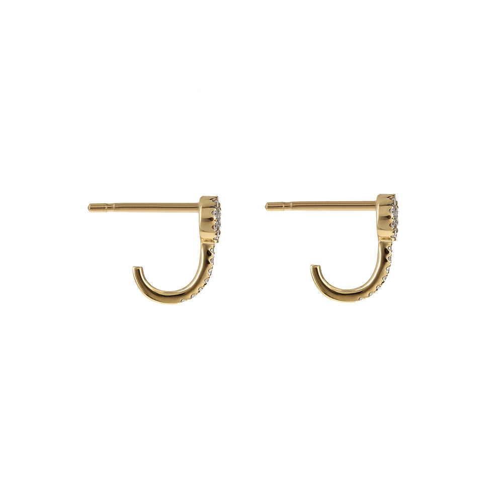Load image into Gallery viewer, Diamond Halo Hook Gold Earrings