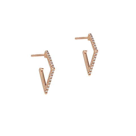 Diamond Geometric Huggie Rose Earrings