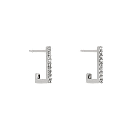 Squared Diamond Bar Drop Earrings
