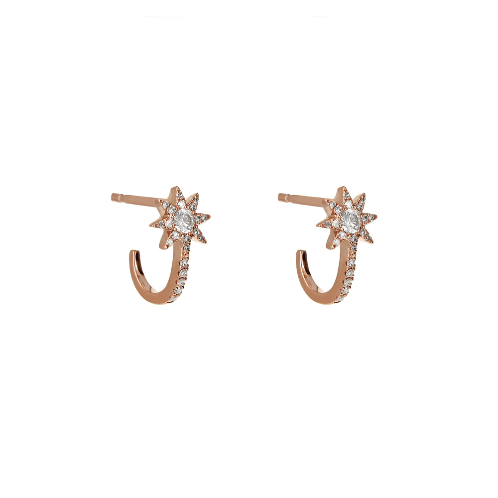Diamond Star Cuff Rose Gold Earrings