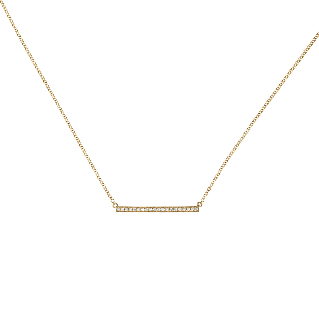 Diamond Long Bar Gold Necklace
