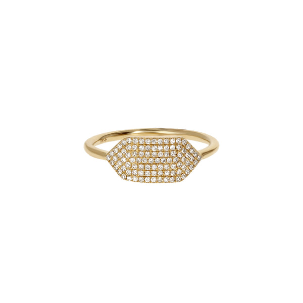 Diamond Geometric Signet Gold Ring