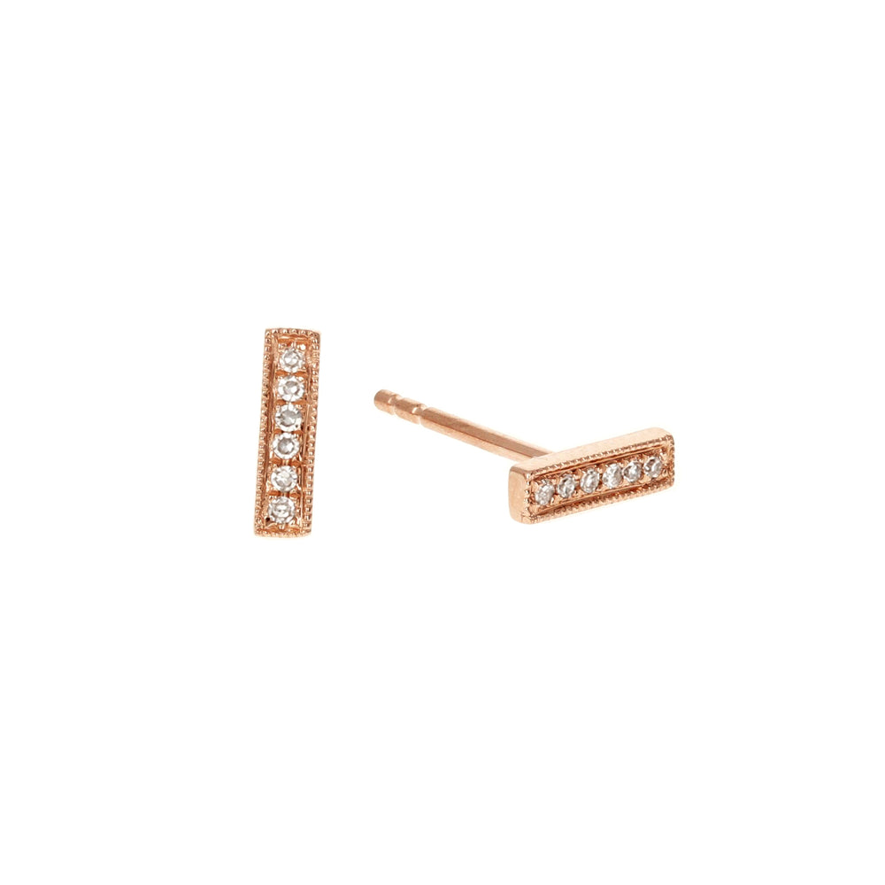Small Diamond Bar Studs in 14kt Rose Gold - Alexandra Marks Jewelry