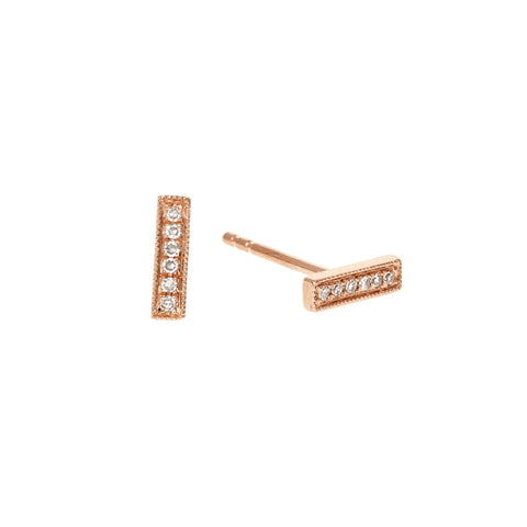 Diamond Bar Rose Gold Earrings