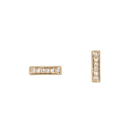Diamond Bar Yellow Gold Earrings