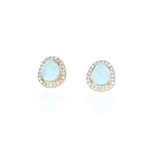 Golden Aqua Stud Earrings