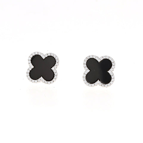 Onyx Clover Earrings