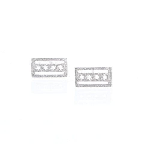 Silver Chicago Flag Earrings