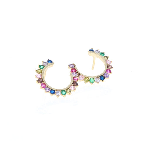 Cascading Rainbow Stud Earrings