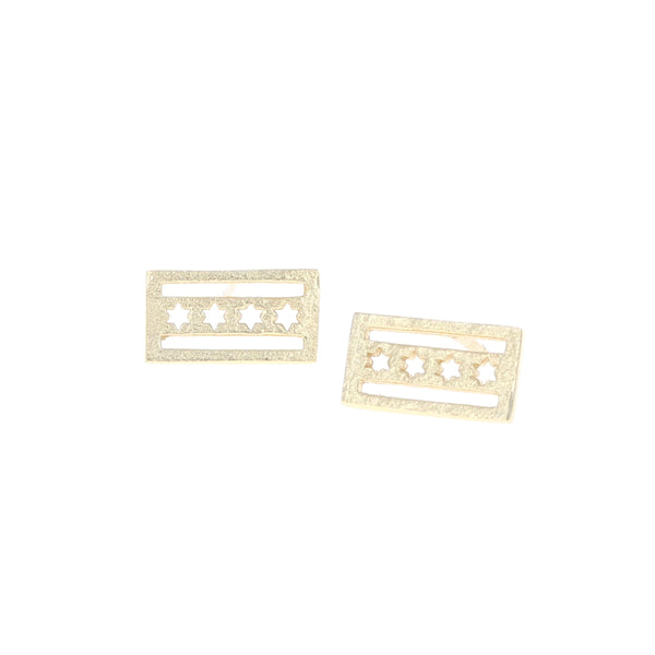 Gold Chicago Flag Earrings