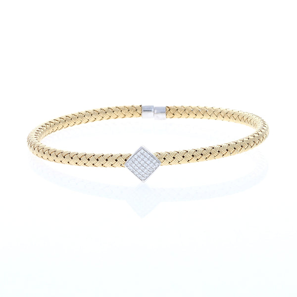 Golden Square Braided Cable Bracelet