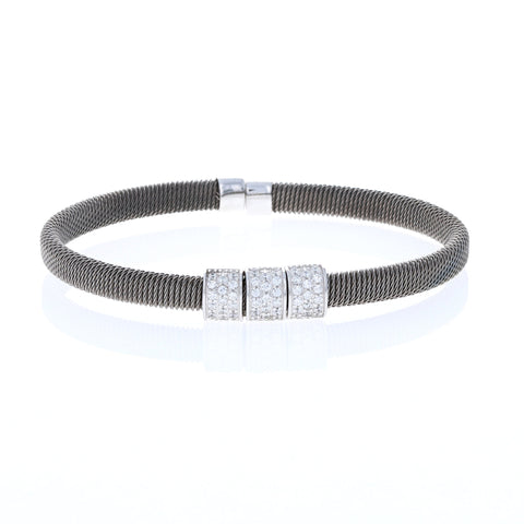 Triple Square Gunmetal Cable Bracelet