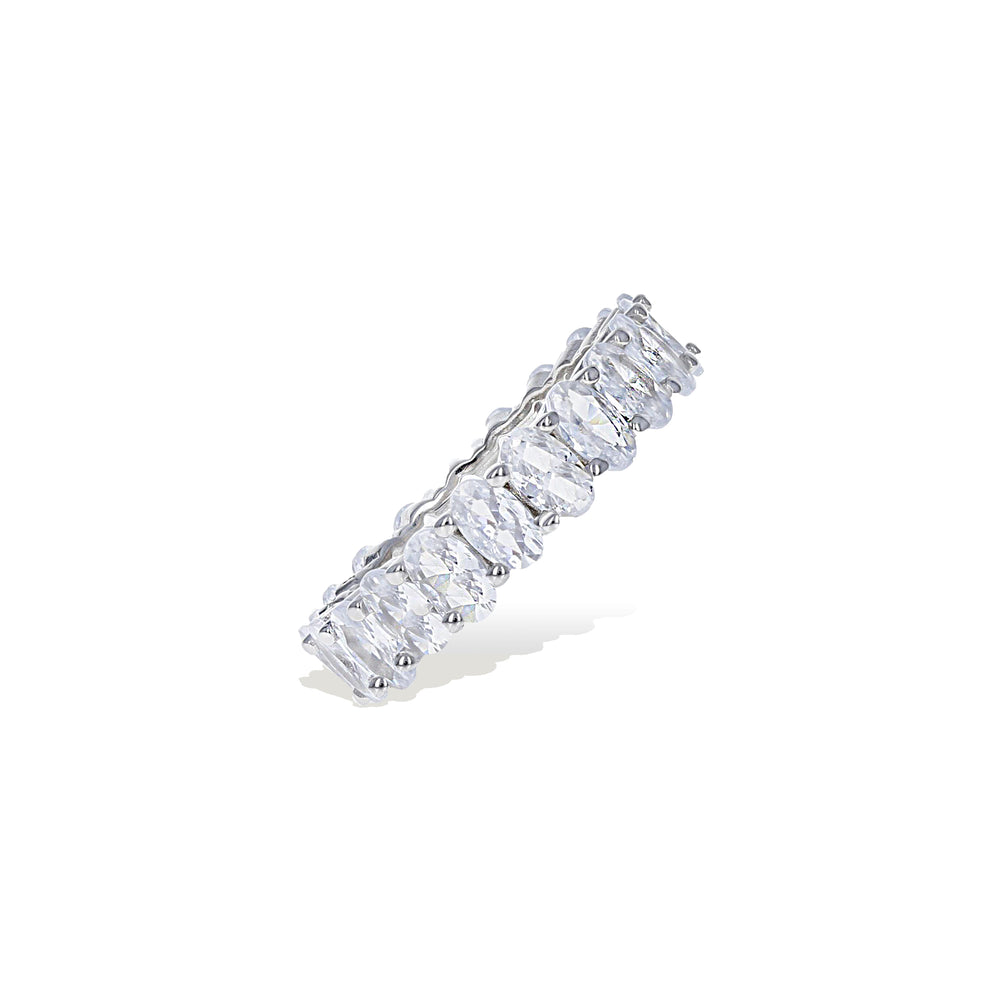 Load image into Gallery viewer, Side profile view of the oval shaped cubic zirconia stones in the eternity band