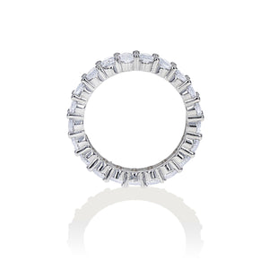 Load image into Gallery viewer, View of the prong setting for the oval shaped cubic zirconia eternity band