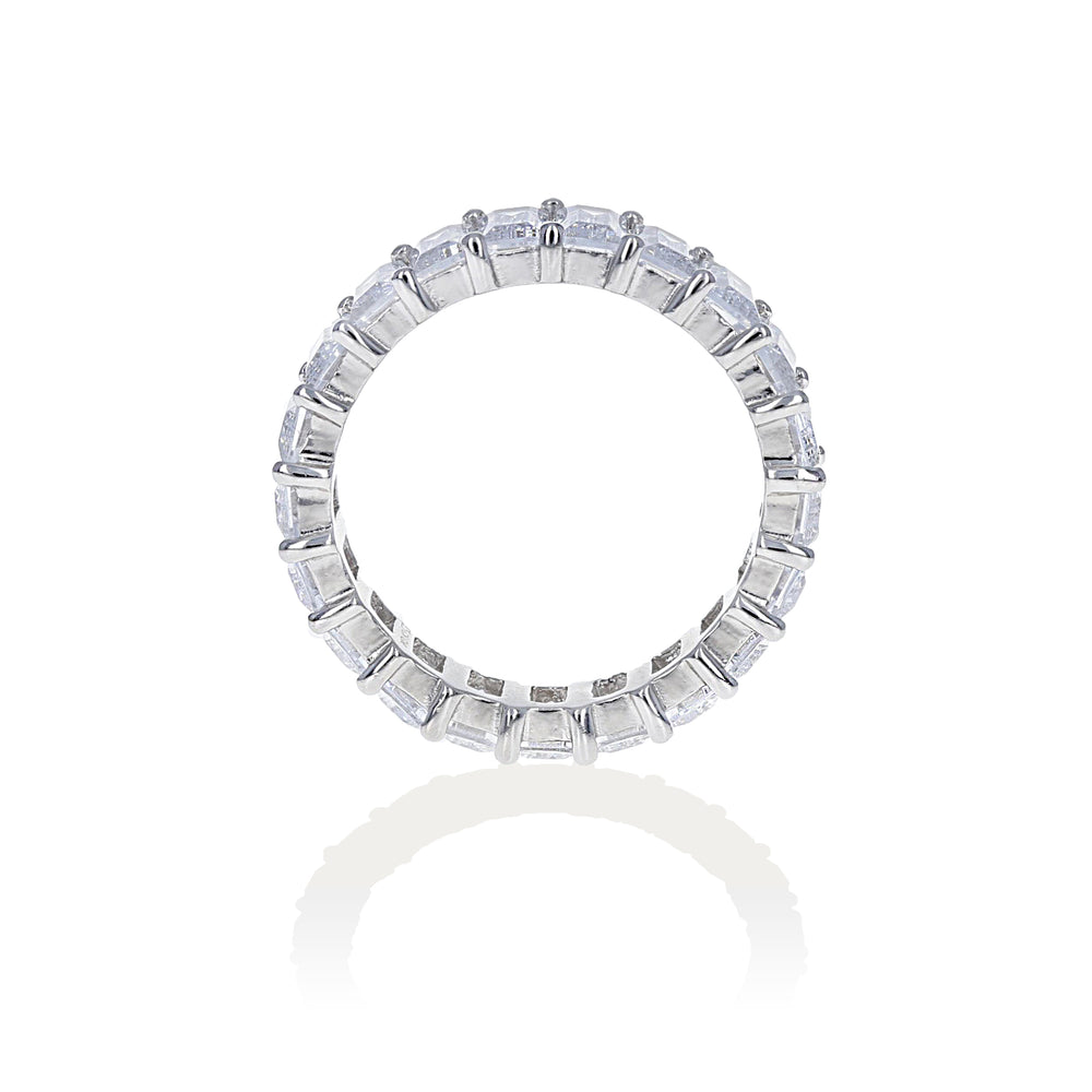 Set in sterling silver, this classic eternity band looks like a diamond ring - Alexandra Marks Jewelry