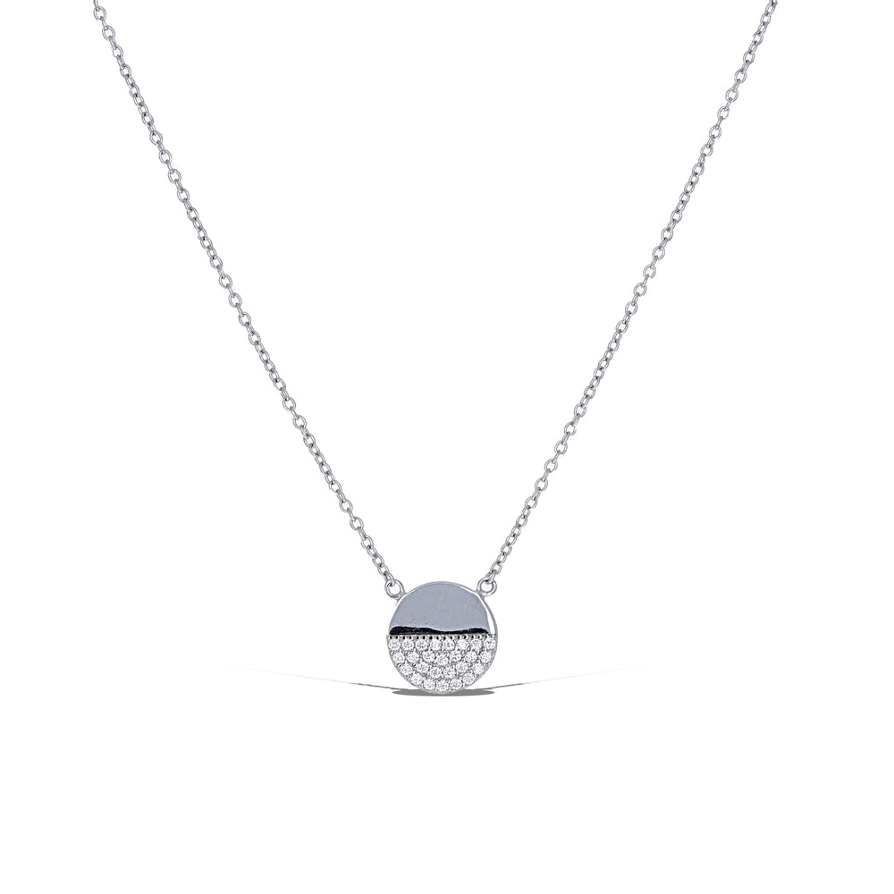 Load image into Gallery viewer, Half Pave Disc Necklace
