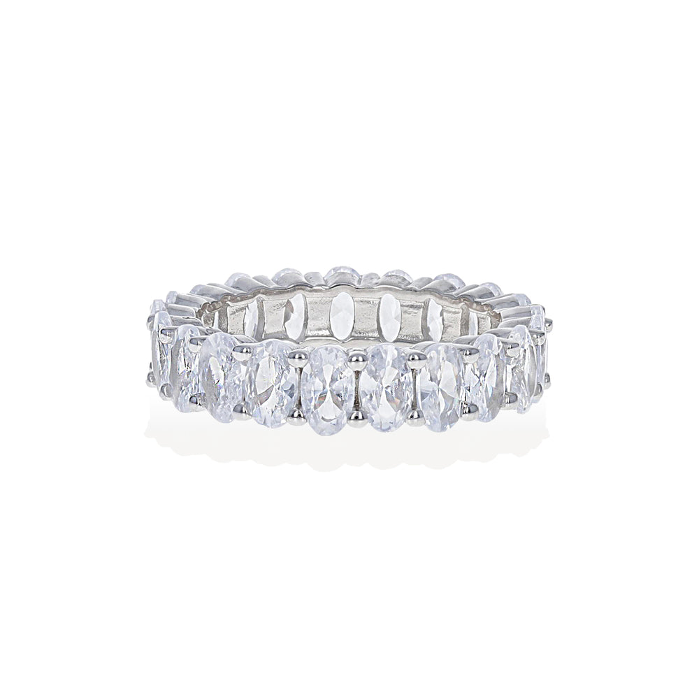 Load image into Gallery viewer, Oval Shaped Cubic Zirconia Eternity Band set in Sterling Silver