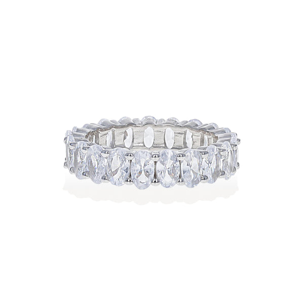 Oval Shaped Cubic Zirconia Eternity Band set in Sterling Silver