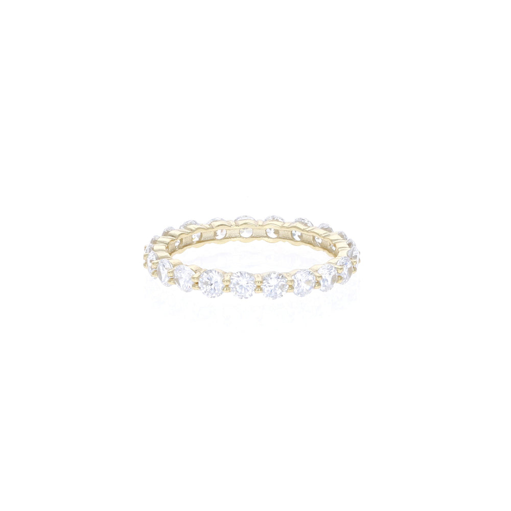 Golden Round Brilliant Eternity Band