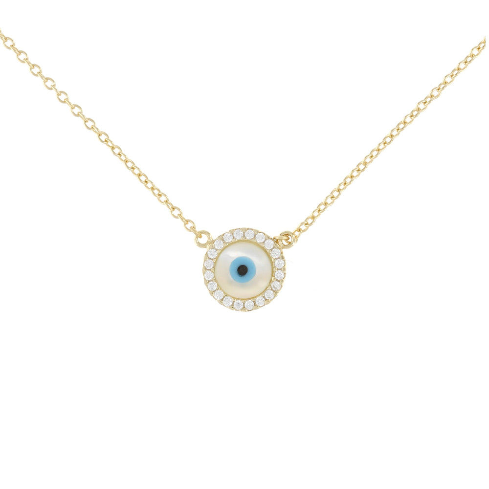 Alexandra Marks - Pearl Evil Eye Charm Necklace in Gold