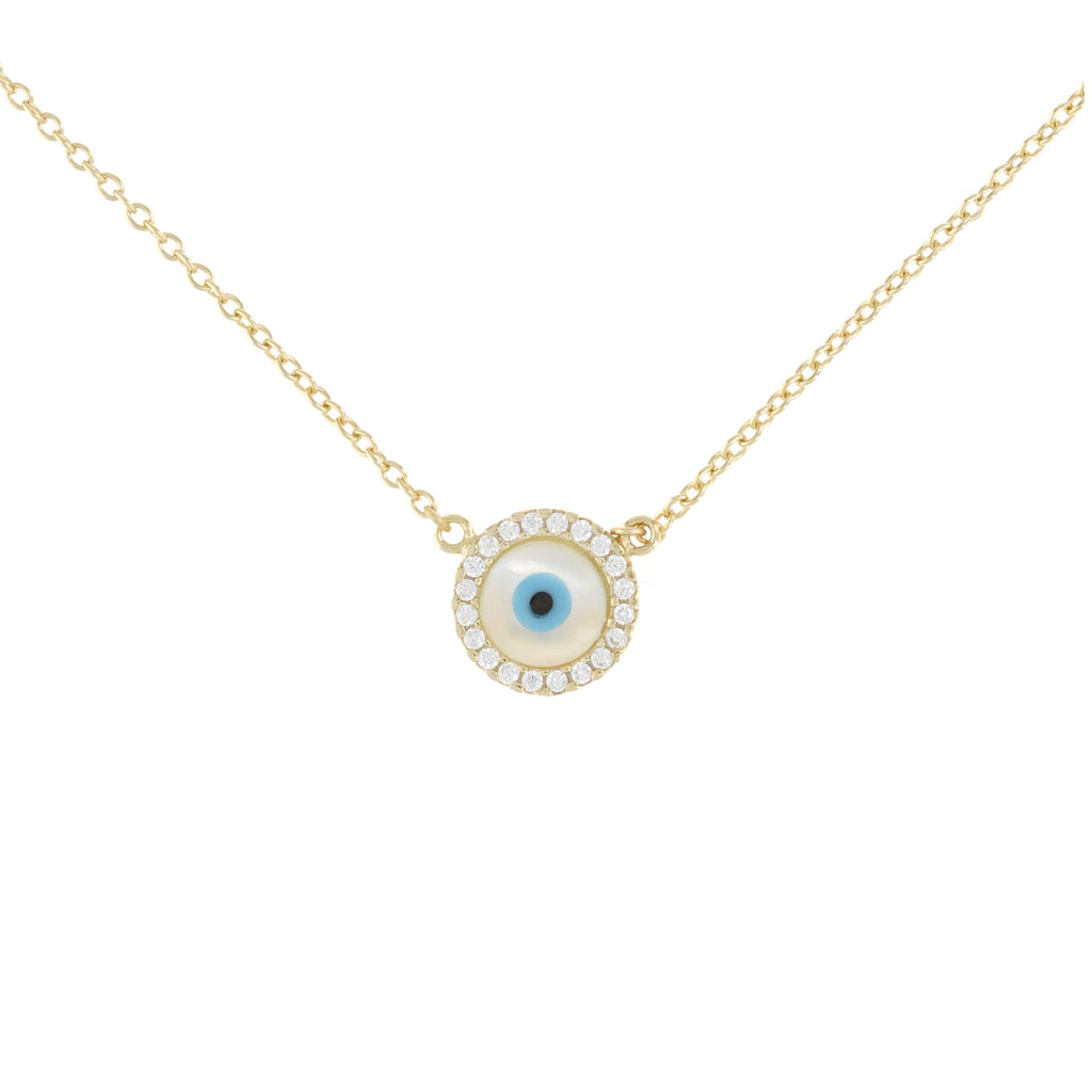 Dainty Pearl Evil Eye Necklace