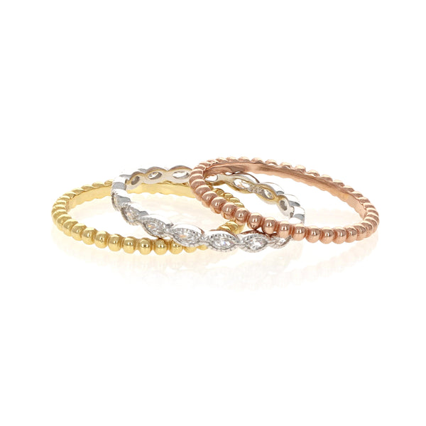 Tricolor Stacking Ring Set