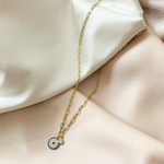 Oval Link Chain with CZ Evil Eye Charm Pendant from Alexandra Marks Jewelry