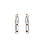 Emerald Cut Square Shaped Huggie Hoop Earrings in Gold Plated Sterling Silver