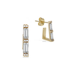 Alexandra Marks | Emerald Cut CZ Huggie Hoop Earrings in Gold