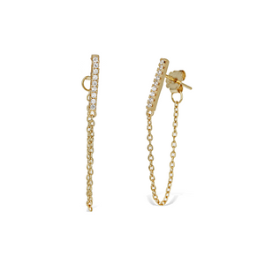 Cz Bar Chain Earrings