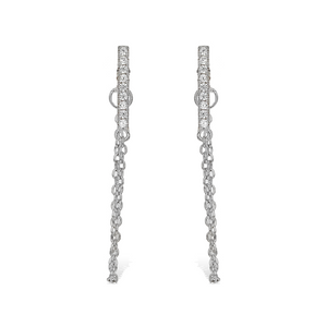 Load image into Gallery viewer, Cz Bar Chain Earrings