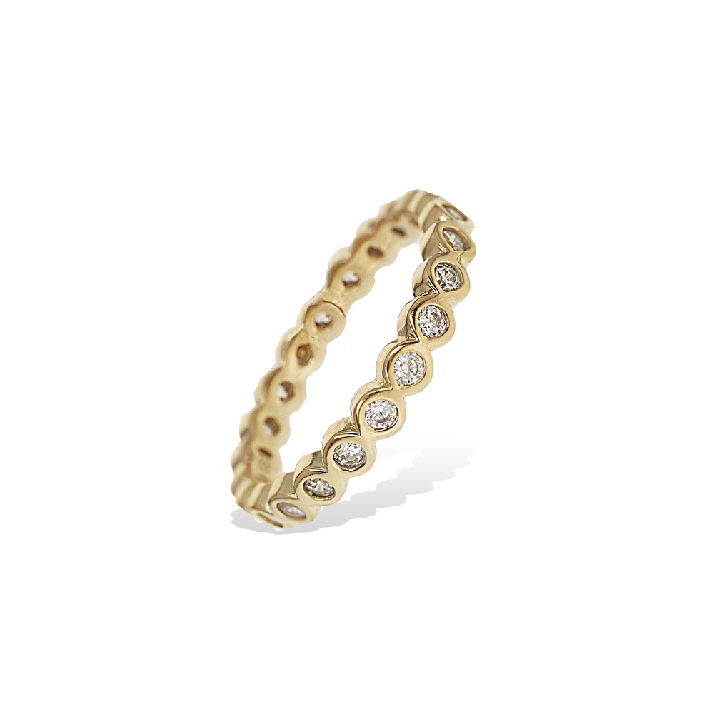Thin Gold Bezel Set Cz Stacking Ring - Alexandra Marks Jewelry