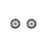 Small sapphire blue cz evil eye stud earrings in gold
