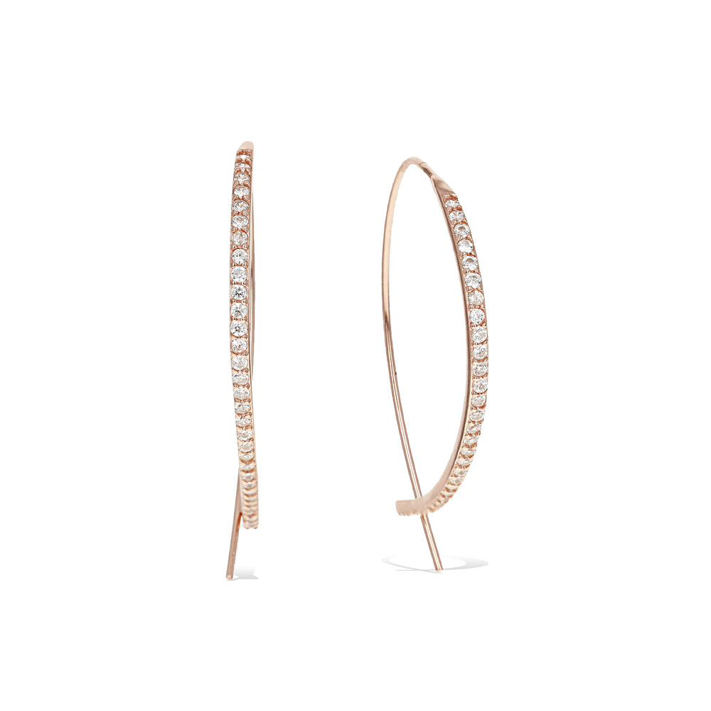 Rose gold thread-through hoop earrings with pave' cubic zirconia stones