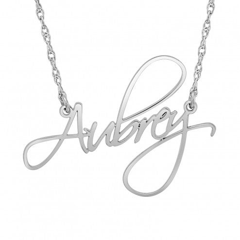 Calligraphy Personalized Name Necklace in Silver or 14kt Gold - Alexandra Marks Jewelry