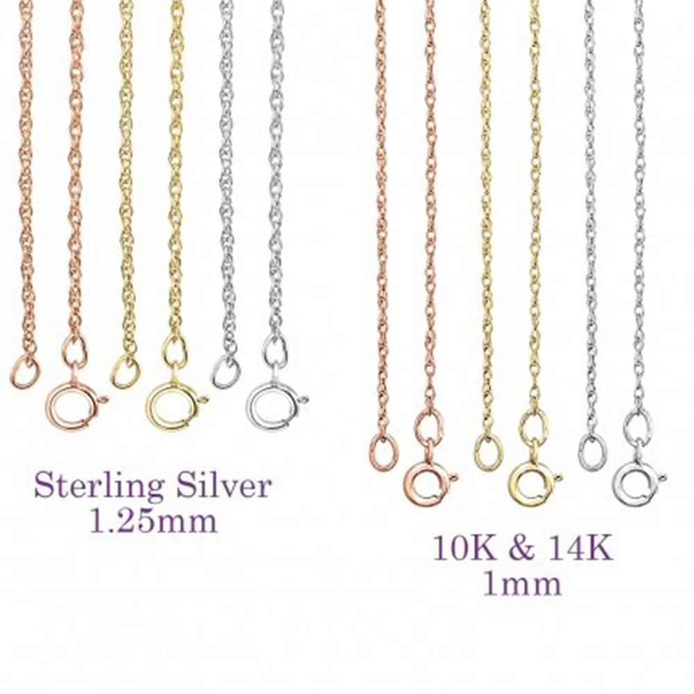 Personalized Chain Options for the silver and 14kt gold necklaces - Alexandra marks