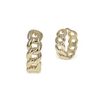 Gold High polished chain link hoop earrings