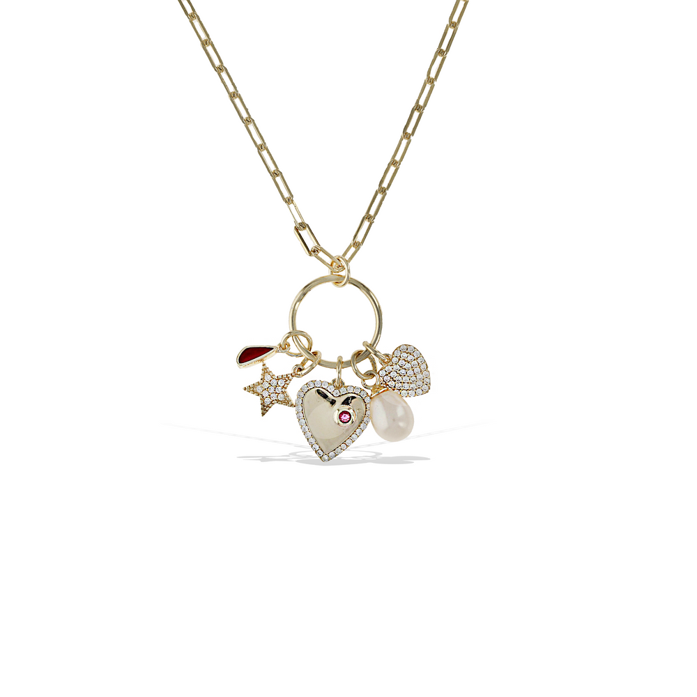 Alexandra Marks - Heart, Pearl, Star and Teardrop Charm Necklace in Gold