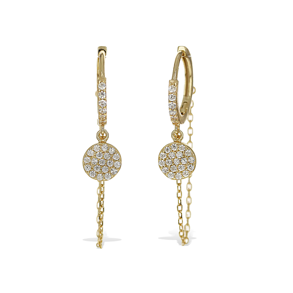 Load image into Gallery viewer, Alexandra Marks | Circle Cz Charm & Chain Drop Earrings