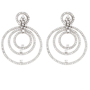 Cubic Zirconia Open Circle Statement Earrings, Sterling Silver - Alexandra Marks Jewelry