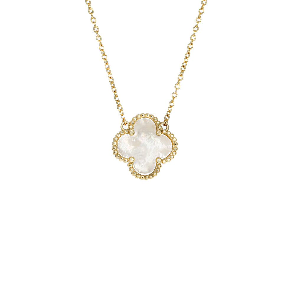 Gold & White Freshwater Pearl Clover Necklace