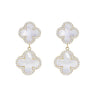 White Pearl Double Clover Golden Drop Earrings