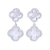 White Pearl Double Clover Drop Earrings